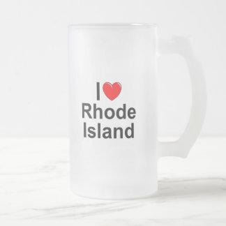 I Love (Heart) Rhode Island Frosted Glass Beer Mug