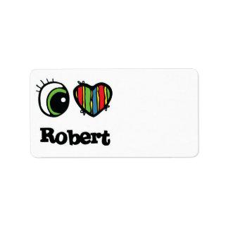 I Love (Heart) Robert Personalized Address Label