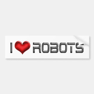 I Love Heart Robots - Robotics Lover Bumper Sticker