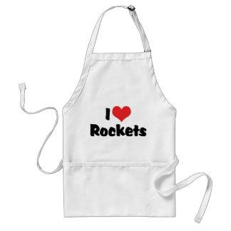 I Love Heart Rockets - Space Exploration Adult Apron