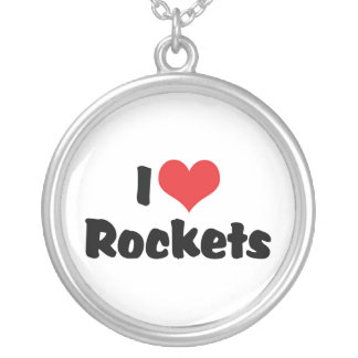 I Love Heart Rockets - Space Exploration Silver Plated Necklace