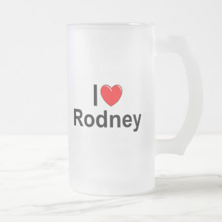 I Love (Heart) Rodney Frosted Glass Beer Mug