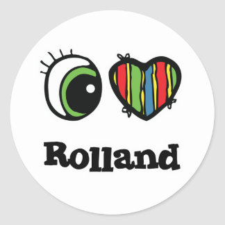 I Love (Heart) Rolland Classic Round Sticker
