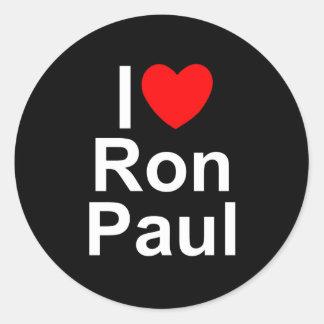 I Love (Heart) Ron Paul Classic Round Sticker
