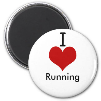 I Love (heart) Running 2 Inch Round Magnet