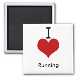 I Love (heart) Running 2 Inch Square Magnet