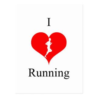 I Love Heart Running Health Fitness Postcard