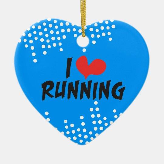 I love (heart) Running in Blue Ceramic Ornament