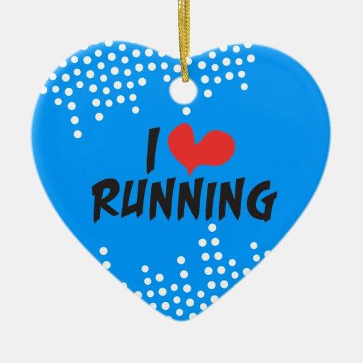 I love (heart) Running in Blue Christmas Ornament