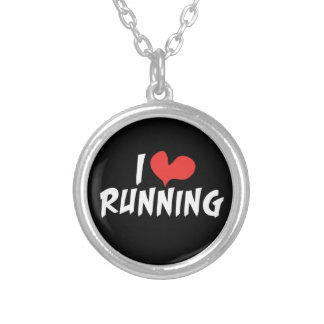 I love (heart) Running Round Pendant Necklace