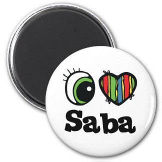 I Love (Heart) Saba 2 Inch Round Magnet