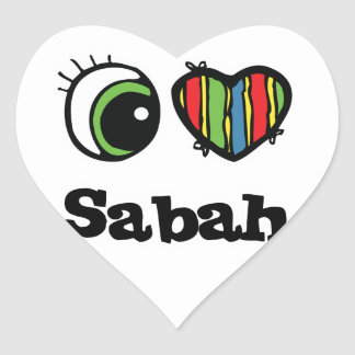 I Love (Heart) Sabah Heart Sticker