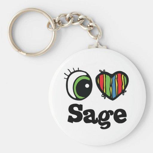 I Love (Heart) Sage Basic Round Button Keychain