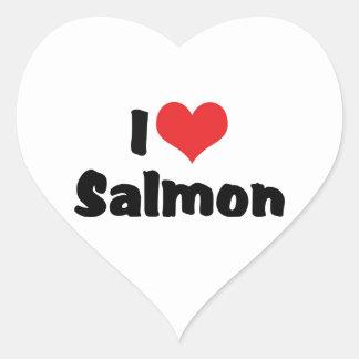 I Love Heart Salmon - Fish Lover Heart Sticker