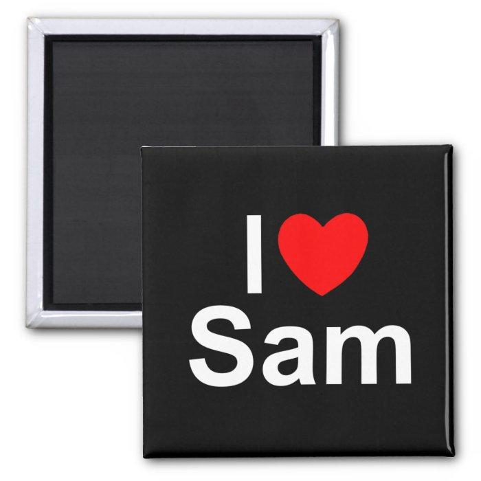 I Love (Heart) Sam 2 Inch Square Magnet