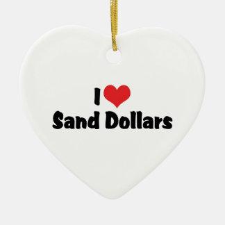I Love Heart Sand Dollars Ceramic Ornament