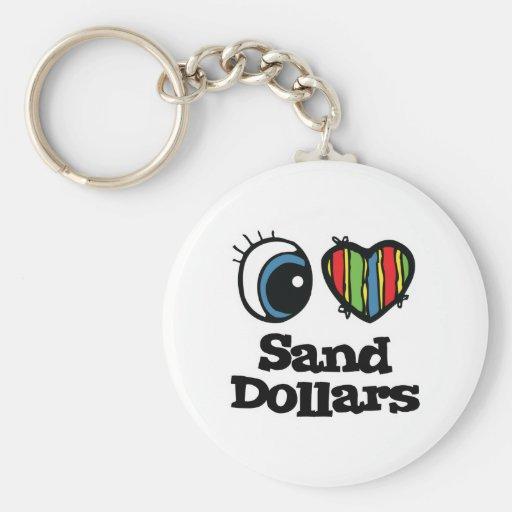 I Love (Heart) Sand Dollars Keychains