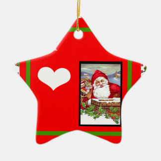 I Love (Heart) Santa By Chimney Products Ceramic Ornament