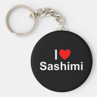 I Love (Heart) Sashimi Basic Round Button Keychain