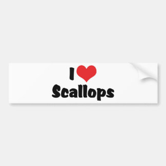 I Love Heart Scallops Bumper Sticker