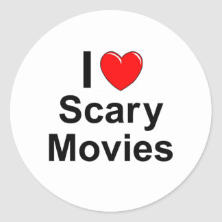 I Love Heart Scary Movies Classic Round Sticker