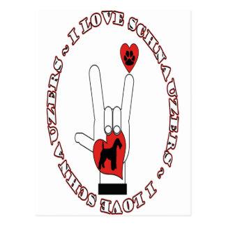 I LOVE (HEART) SCHNAUZERS - ASL SIGN LANGUAGE POSTCARD
