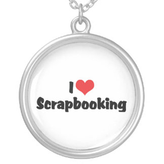 I Love Heart Scrapbooking -Scrapbook Lover Silver Plated Necklace