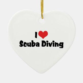 I Love heart Scuba Diving - Ocean Deap Sea Lover Ceramic Ornament