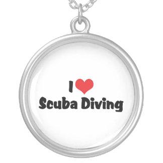 I Love heart Scuba Diving - Ocean Deap Sea Lover Silver Plated Necklace