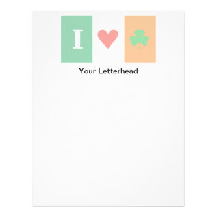 I Love Heart Shamrock Ireland Letterhead at Zazzle