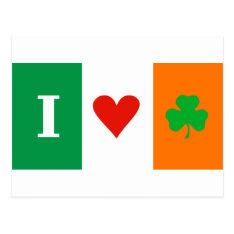 I Love Heart Shamrock Ireland Postcard at Zazzle