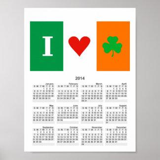 I Love Heart Shamrock Ireland Poster