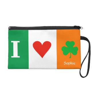 I Love Heart Shamrocks Ireland Wristlet Purse