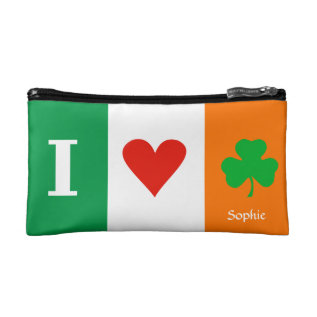 I Love Heart Shamrocks Ireland Cosmetic Bag at Zazzle