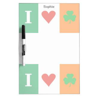 I Love Heart Shamrocks Ireland Dry-Erase Boards