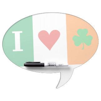I Love Heart Shamrocks Ireland Dry Erase Whiteboards