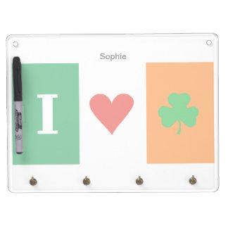 I Love Heart Shamrocks Ireland Dry Erase Whiteboard
