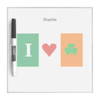 I Love Heart Shamrocks Ireland Dry-Erase Whiteboards