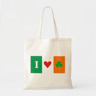 I Love Heart Shamrocks Ireland Flag Bag
