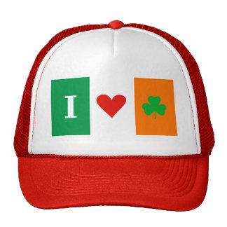 I Love Heart Shamrocks Ireland Flag Hat