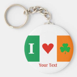 I Love Heart Shamrocks Ireland Flag Keyring Basic Round Button Keychain
