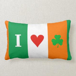 I Love Heart Shamrocks Ireland Lumbar Pillow at Zazzle