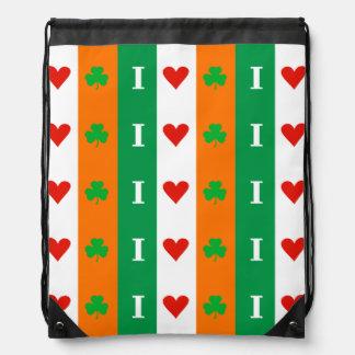 I Love Heart Shamrocks Ireland Backpacks