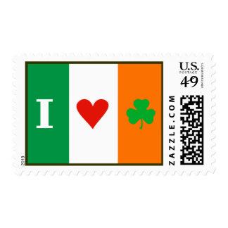 I Love Heart Shamrocks Ireland Postage