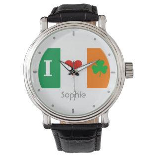 I Love Heart Shamrocks Ireland Watch at Zazzle