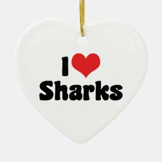 I Love Heart Sharks - Shark Lover Ceramic Ornament