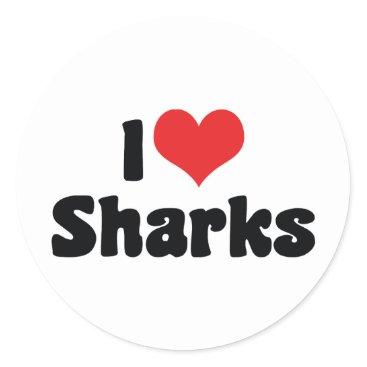 Valentines Themed I Love Heart Sharks - Shark Lover Classic Round Sticker