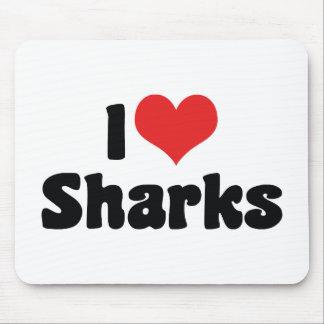 I Love Heart Sharks - Shark Lover Mouse Pad