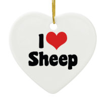 I Love Heart Sheep Ceramic Ornament