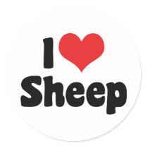 I Love Heart Sheep Classic Round Sticker